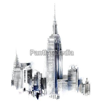 aquarellmalerei des empire state building und