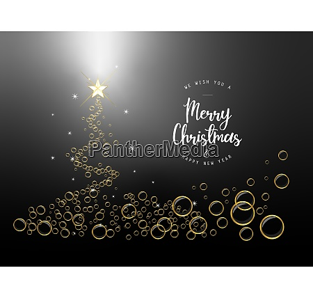 black chirstmas tree background with bubbles