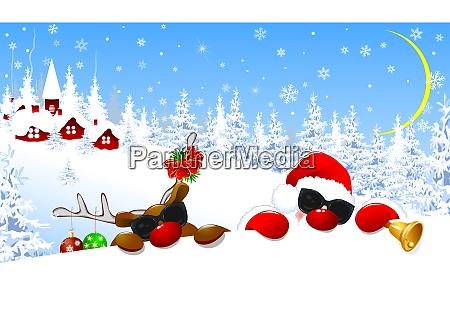 weihnachtsmann und rentiere in der weihnachtsnacht