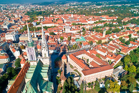zagreb cathedral and city center aerial