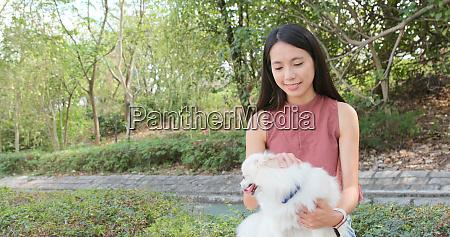 pommerscher hund mit haustierbesitzer im freien