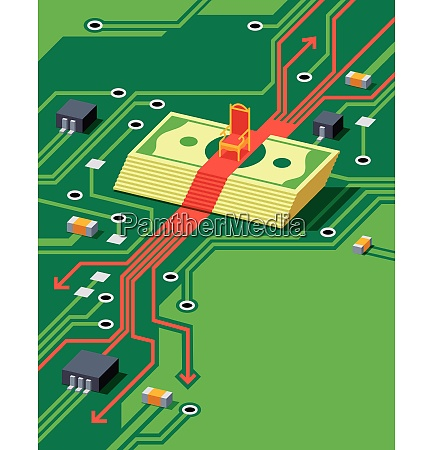 money under throne on circuit board