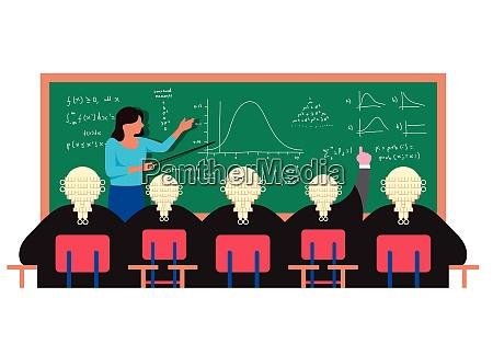teacher at blackboard explaining formulas to