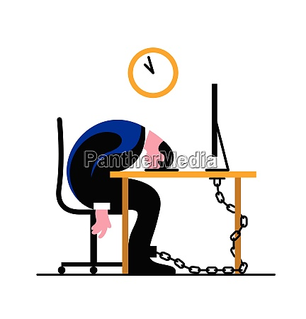 exhausted businessman chained to desk sleeping