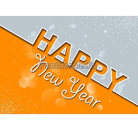 orange gray new year greeting card