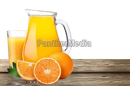 pitcher with highball of orange juice