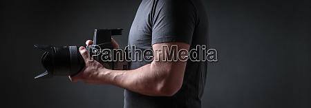 photographer with a medium format camera