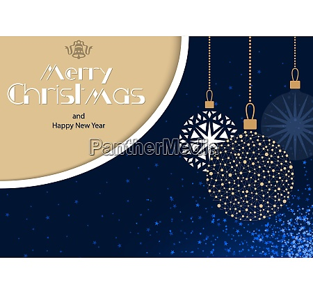 blue merry christmas greeting card with