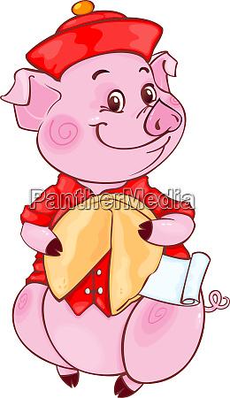 niedliche mandarin pig mit fortune cookie