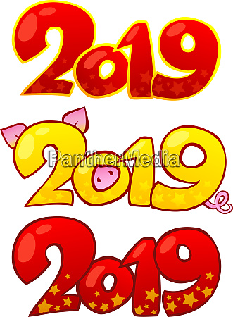 2019 happy new year design elemente