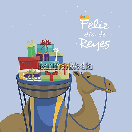 happy epiphany day camel transporting gifts