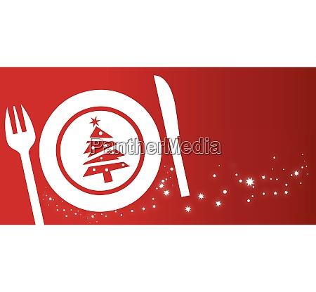 weihnachts dinner konzept auf rotem hintergrund