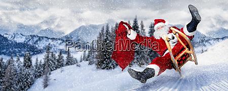 verstorbener weihnachtsmann in eile mit schlitten