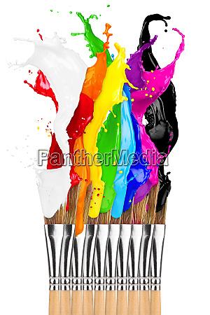farbige farbspritz pinsel reihe