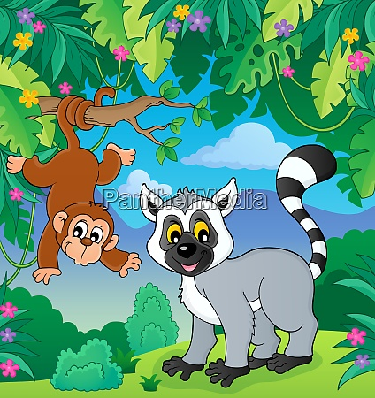 lemur and monkey in jungle image