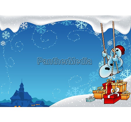 snowman and swing christmas background