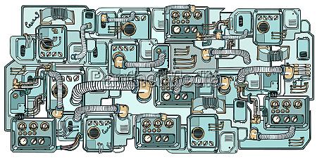 cyberpunk roboter mechanismen und maschinen details