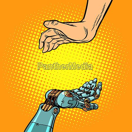 menschliche und roboterhaende geste der praesentation