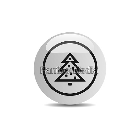 christmas tree icon in a button