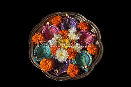 hindu ritual plate in diwali