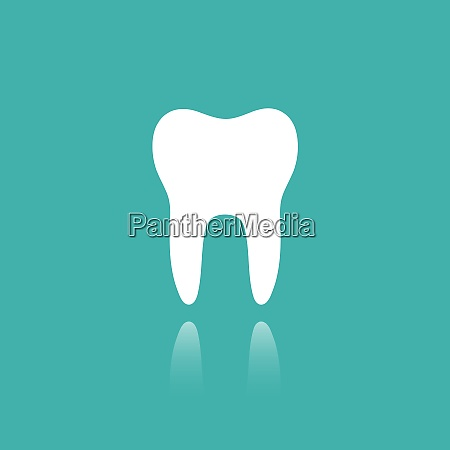tooth flat icon with reflection on