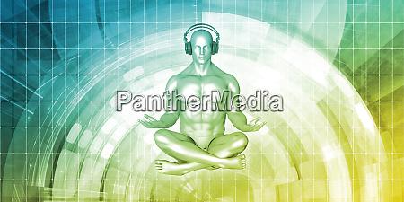 zen musik mann mit kopfhoerer