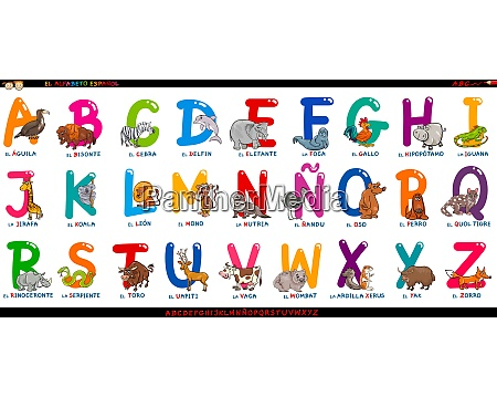 spanish alphabet with cartoon animals set