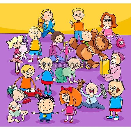 kleinkinder und kids zeichentrickfiguren gruppe