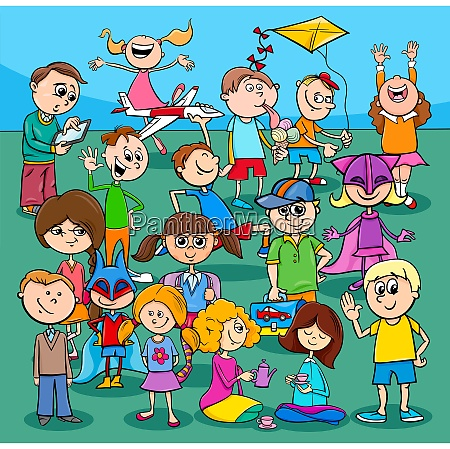 children and teens cartoon characters group