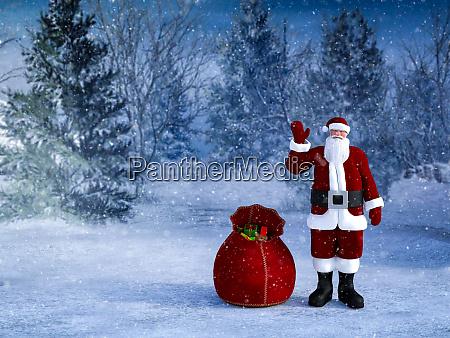 3d rendering des weihnachtsmanns mit seiner