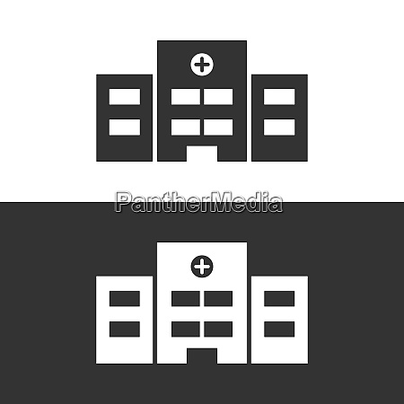 isolated hospital icon on black and