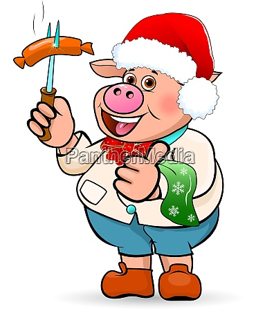 cartoon pig with sausage in hand