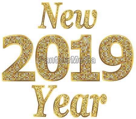 neujahr 2019 feiertage saisonfeier goldglaenzende illustration