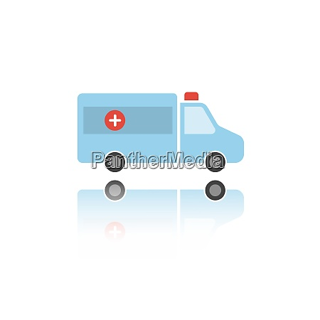 isolated ambulance color icon with reflection
