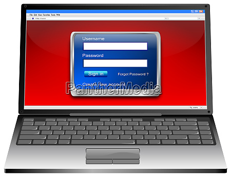 laptop computer mit blauem login screen