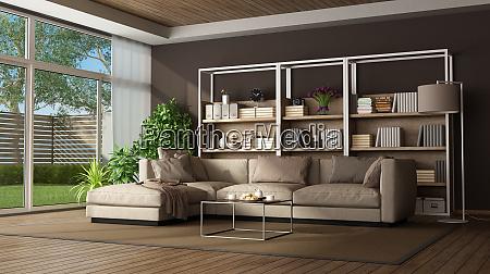 braunes wohnzimmer mit sofa und buchase