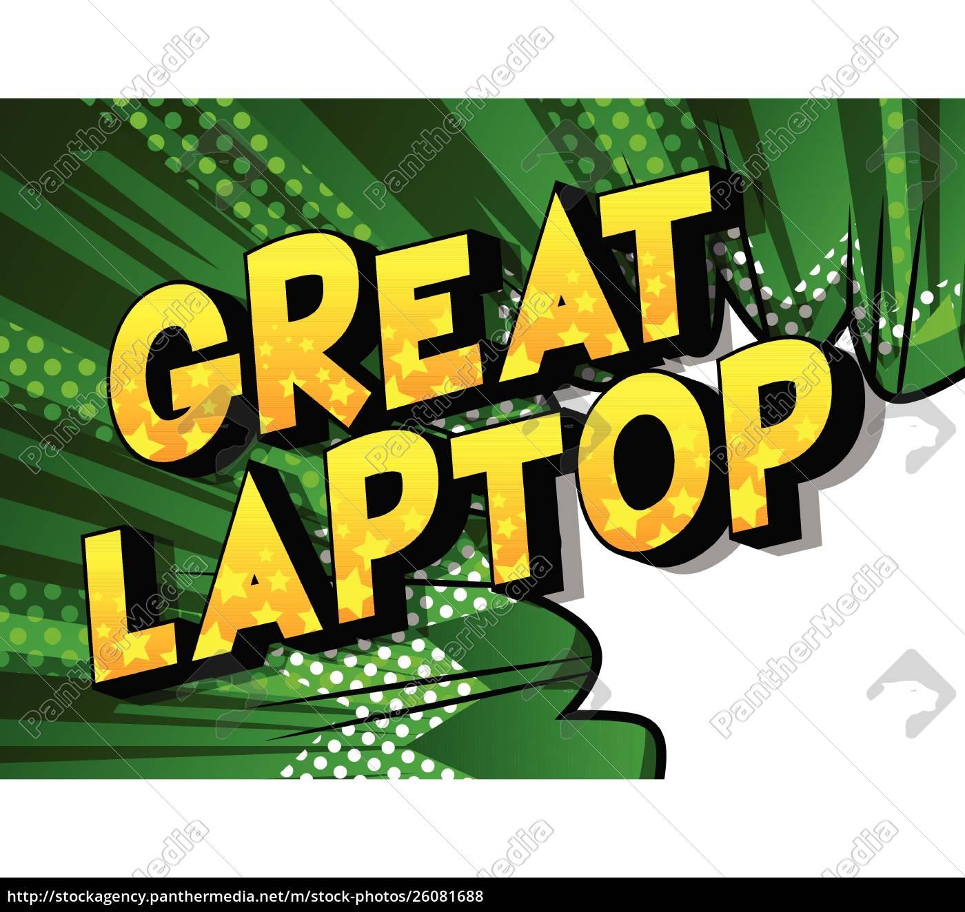 great, laptop-comic-buch-stil, wörter. - 26081688