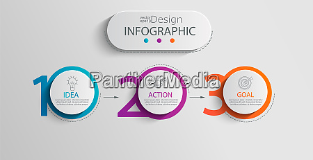 paper infographic template with 3 circle