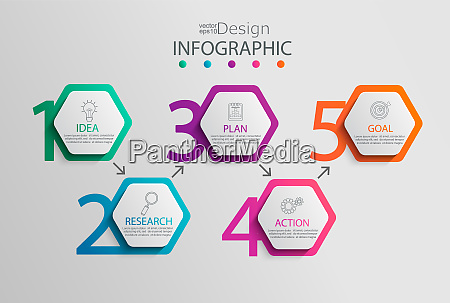paper infographic template with 5 hexagon