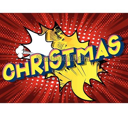 weihnachten comic buch stil worte