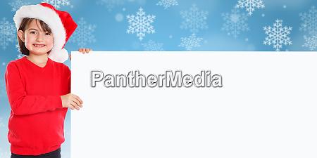 kind kind maedchen weihnachtsmann leere banner