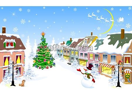stadt weihnachten winter schneemann weihnachtsnacht