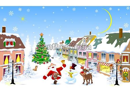 stadt santa hirsch schneemann weihnachtsnacht