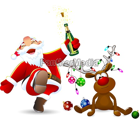 froehlicher weihnachtsmann und ein hirsch mit