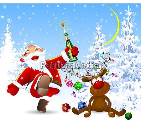 froehlicher weihnachtsmann und hirsch im winterwald