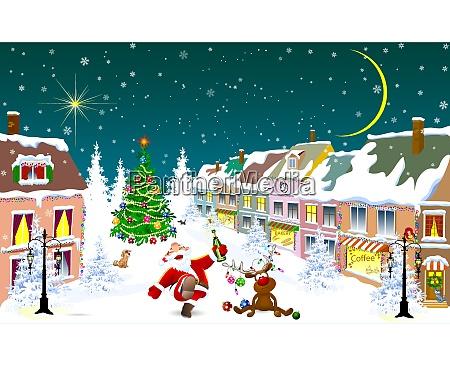 stadt im winter weihnachtsmann und hirsche