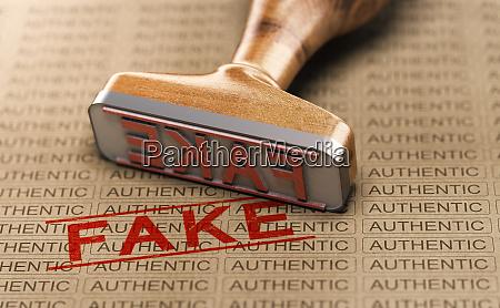 authentisch vs fake poduct gefaelschtes konzept