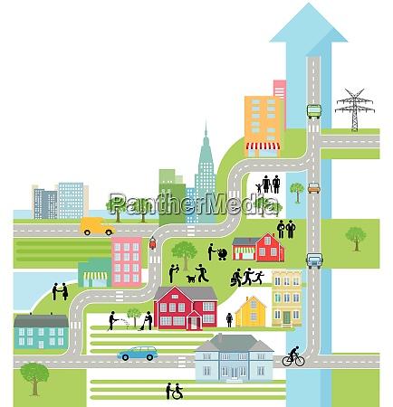 stadtplan leben in der stadt vektorabbildung
