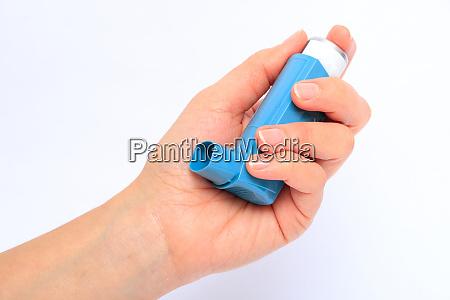 menschliche hand halte inhalator