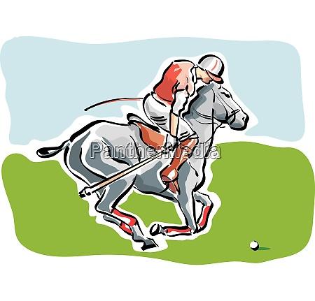 illustration eines polospielers